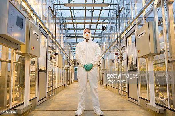Scientist in protective suit