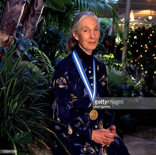 Scientist Jane Goodall with the Tyler Award she had just received on May 2 1987 in Los Angeles California