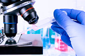 scientist pipetting chemical liquid on microscope slide. examining samples. laboratory science, clinic and research concept