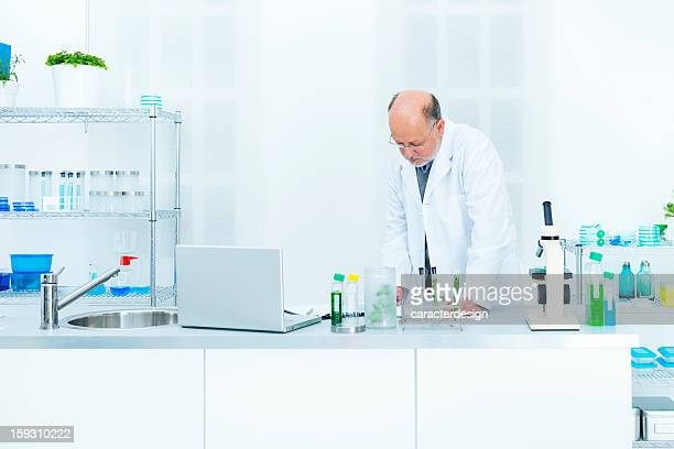 Scientist reviewing notes
