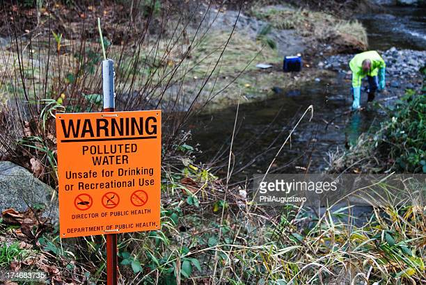 Scientist sampling creek's polluted water