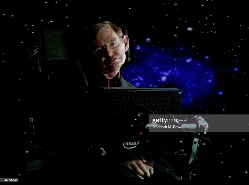 Scientist <a gi-track='captionPersonalityLinkClicked' href=/galleries/search?phrase=Stephen+Hawking&family=editorial&specificpeople=215281 ng-click='$event.stopPropagation()'>Stephen Hawking</a> of 'Into The Universe With <a gi-track='captionPersonalityLinkClicked' href=/galleries/search?phrase=Stephen+Hawking&family=editorial&specificpeople=215281 ng-click='$event.stopPropagation()'>Stephen Hawking</a>' speaks via satellite during the Science Channel portion of the 2010 Television Critics Association Press Tour at the Langham Hotel on January 14, 2010 in Pasadena, California.