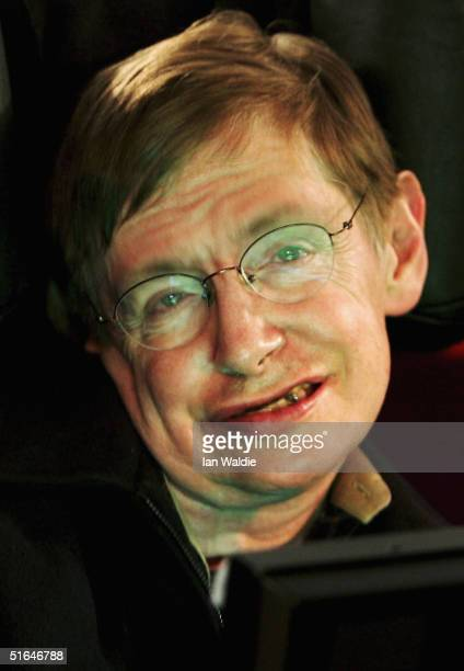 Scientist Stephen Hawking reads out names during a vigil at Trafalgar Square at which a list of names of people killed in the Iraq war is read out...