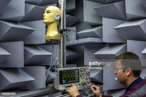 A scientist uses an oscilloscope during tests in sound perception in a sound proof laboratory at the Noveto Systems Ltd office in Petach Tikva Israel...