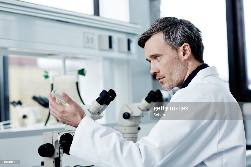 Scientist using equipment in laboratory : Stock Photo