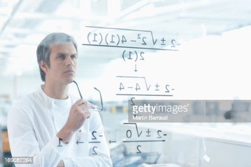 Scientist using touch screen in lab