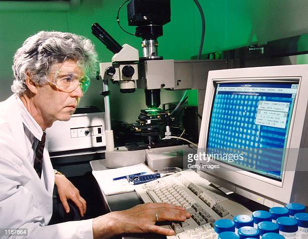 Scientist Viktor Barski of the Russian Engelhardt Institute of Molecular Biology studies the computer data from an Argonnedeveloped microchip used to...