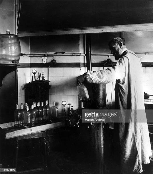 French chemist Louis Pasteur at work with his early steriliser at the Pasteur Institute