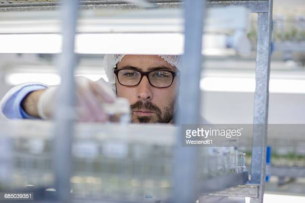 Scientist working in lab wearing protective clothing