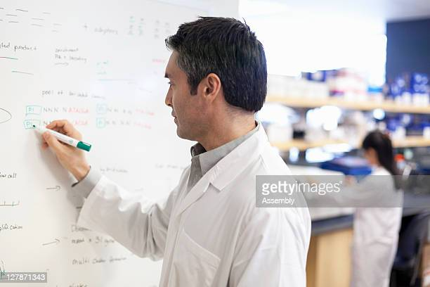 Scientist writing on whiteboard in laboratory