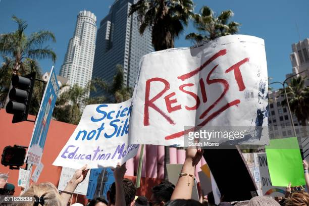 Scientists and supporters gather in Pershing Square for a March for Science on April 22 2017 in Los Angeles California The event is being described...