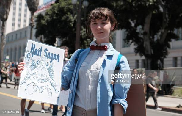 Scientists and supporters participate in a March for Science in front of City Hall on April 22 2017 in Los Angeles California The event is being...
