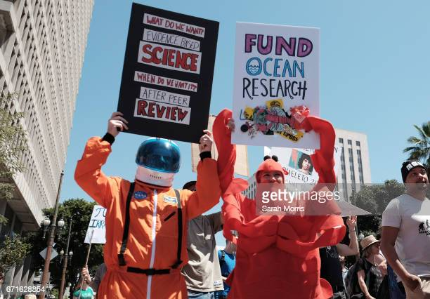 Scientists and supporters participate in a March for Science on April 22 2017 in Los Angeles California The event is being described as a call to...