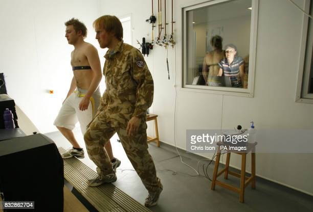 Scientists at the University of Portsmouth test new hightech thermal vests in a humidity chamber at the university's new multimillion pound sports...