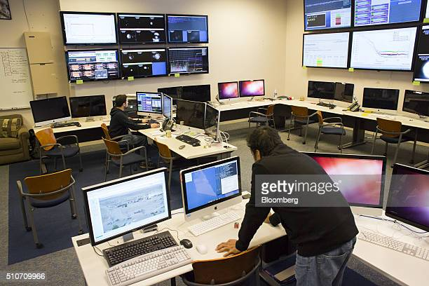Scientists from the California Institute of Technology or Caltech work in the control room of the Laser Interferometer GravitationalWave Observatory...