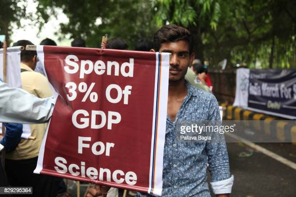 Scientists take part in the 'India March for Science' on August 9 2017 in New Delhi India About 200 silently marched on the streets of New Delhi...