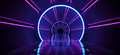 Sci-Fi Futuristic Abstract Gradient Blue Purple Pink Neon Glowing Circle Round Corridor On Reflection Concrete Floor Dark Interior Room Empty Space Spaceship Technology Concept 3D Rendering illustrati