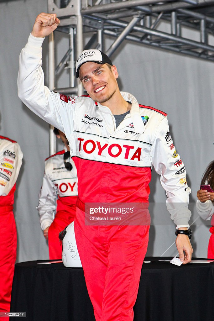 Scion drift driver Frederic Aasbo attends the 36th annual Toyota pro/celebrity race press day on April 3, 2012 in Long Beach, California.
