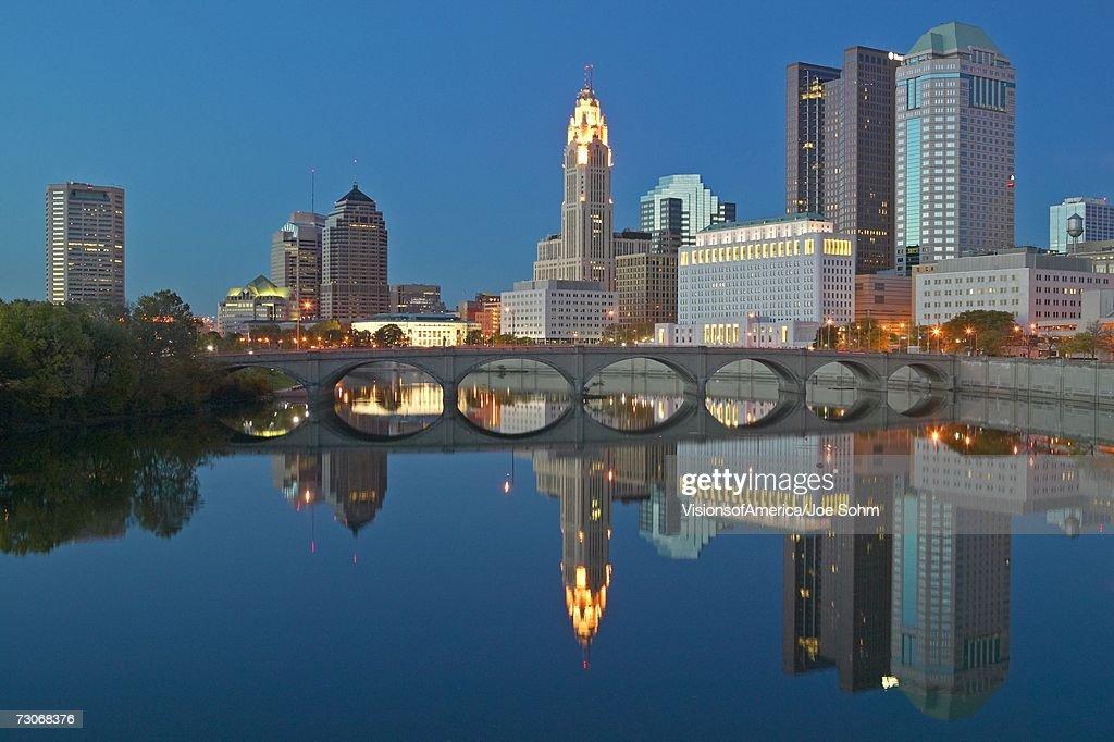 Scioto River and Columbus Ohio skyline at dusk