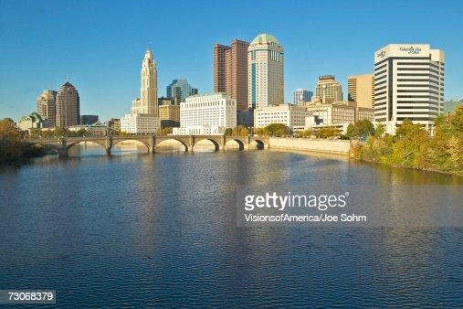 Scioto River and Columbus Ohio skyline in autumn