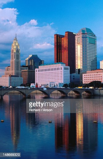Scioto River in front of city skyline. : Stock Photo