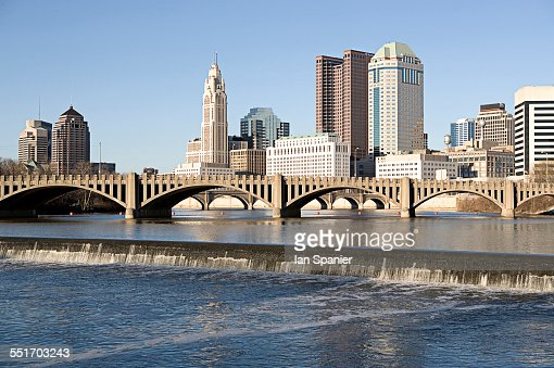 Scioto river with waterfall and Columbus Ohio skyline, USA