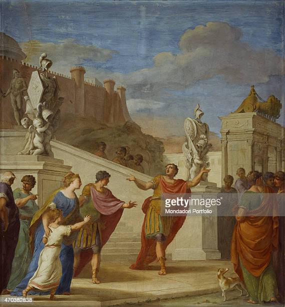 'Scipio leaving for the exile by Pier Antonio Novelli 18th century fresco Italy Veneto Padua Palazzo Pisani Whole artwork view The parting of Scipio...