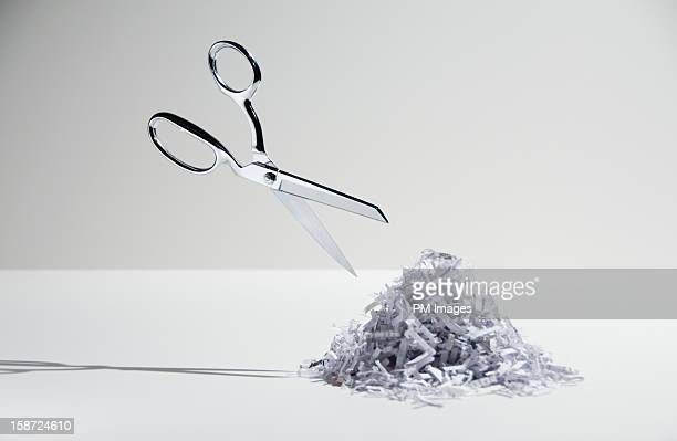 Scissors and shredded paper