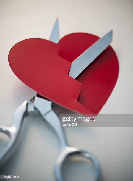 Scissors cutting paper heart
