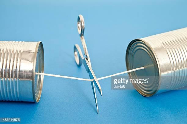 Schere über die cut string auf Dosentelefon