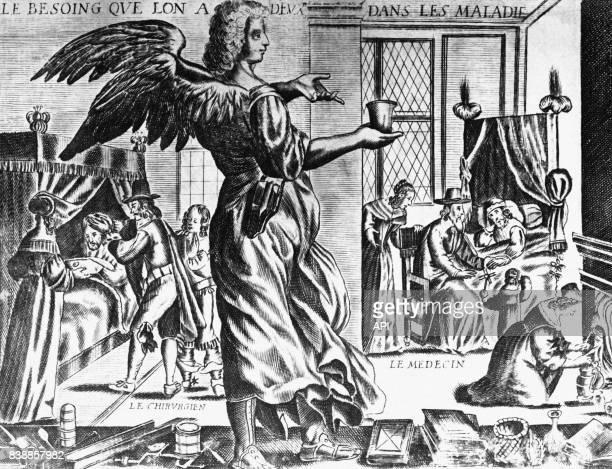 Scènes de médecine représentant un chirurgien et un médecin soignant des malades en France au XVIIème siècle