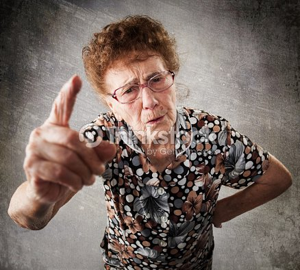 Scolded the old woman : Stock Photo