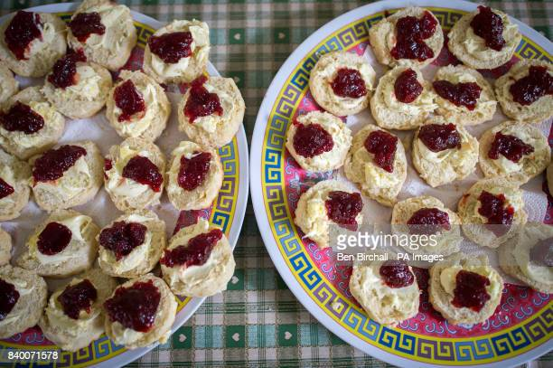 Scones are prepared in the club house during the annual friendly match between Cravens Cavaliers and Lynton amp Lynmouth Cricket Club at the ground...