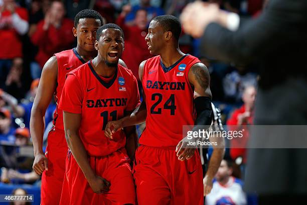 Scoochie Smith of the Dayton Flyers reacts against the Boise State Broncos during the first round of the 2015 NCAA Men's Basketball Tournament at UD...