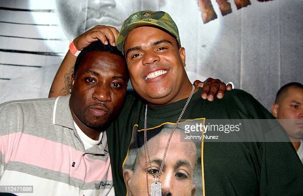 Scoop and DJ Enuff during Mobb Deep Presents 'Amerikaz Nightmare' Album Release at Spirit in New York City New York United States