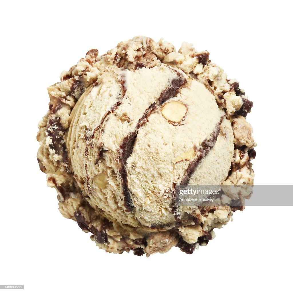 Scoop of Mocha Almond Ice Cream on White : Stock Photo