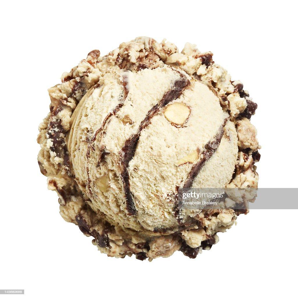 Scoop of Mocha Almond Ice Cream on White