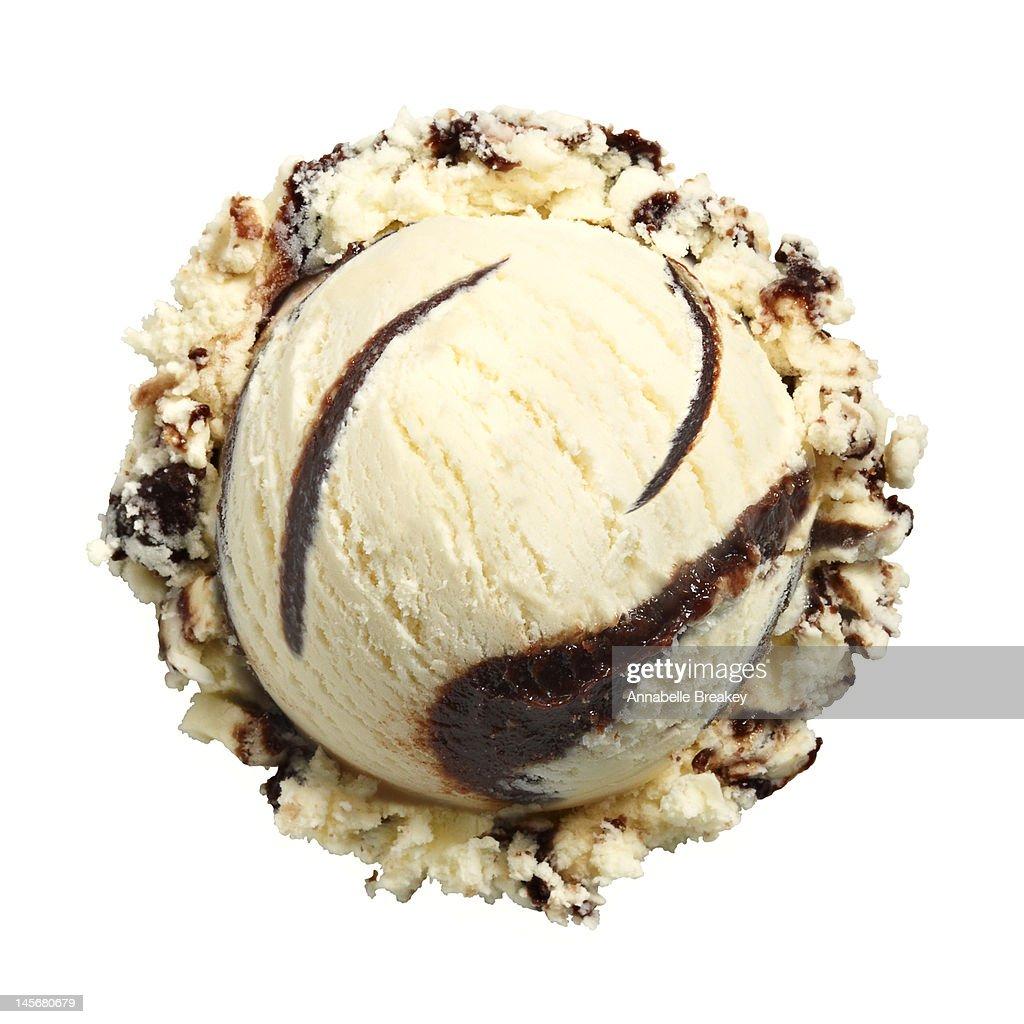 Scoop of Vanilla Fudge Ice Cream on White : Stock Photo
