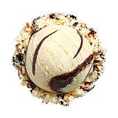 Scoop of Vanilla Fudge Ice Cream on White