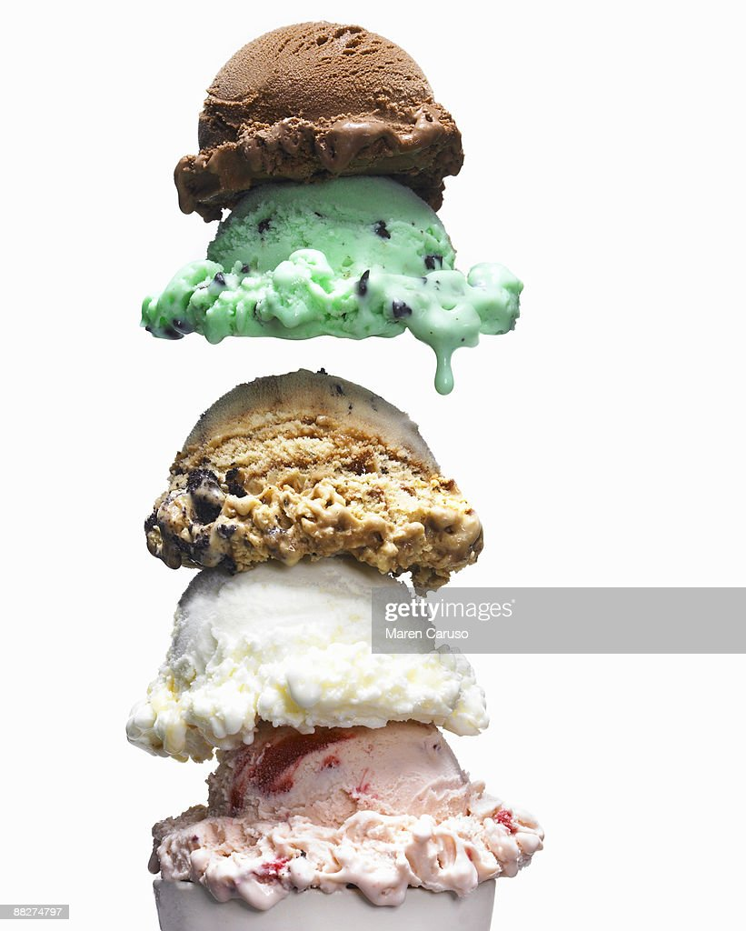 5 scoops of ice cream, 5 flavors : Stock Photo