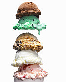 5 scoops of ice cream, 5 flavors