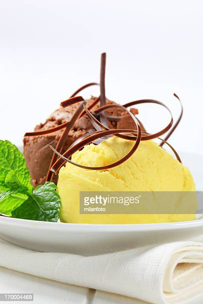 Scoops of ice cream on a plate