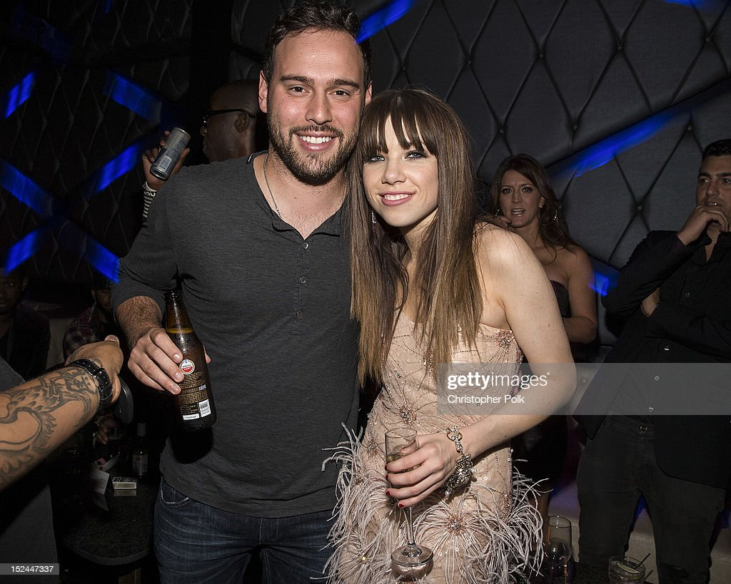 Scooter Braun and MultiPlatinum Canadian Singer/Songwriter Carly Rae Jepsen attendt the Kiss Album Release Party At Bootsy Bellows on September 20...
