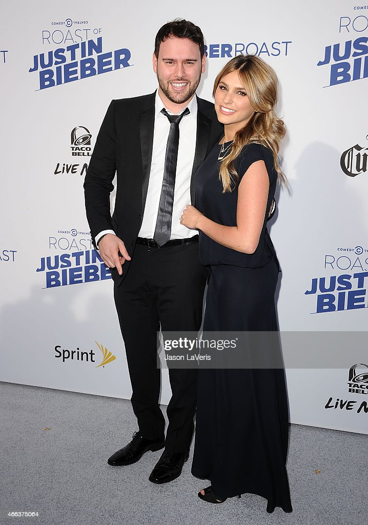 Scooter Braun and wife Yael Cohen Braun attend the Comedy Central Roast Of Justin Bieber on March 14 2015 in Los Angeles California
