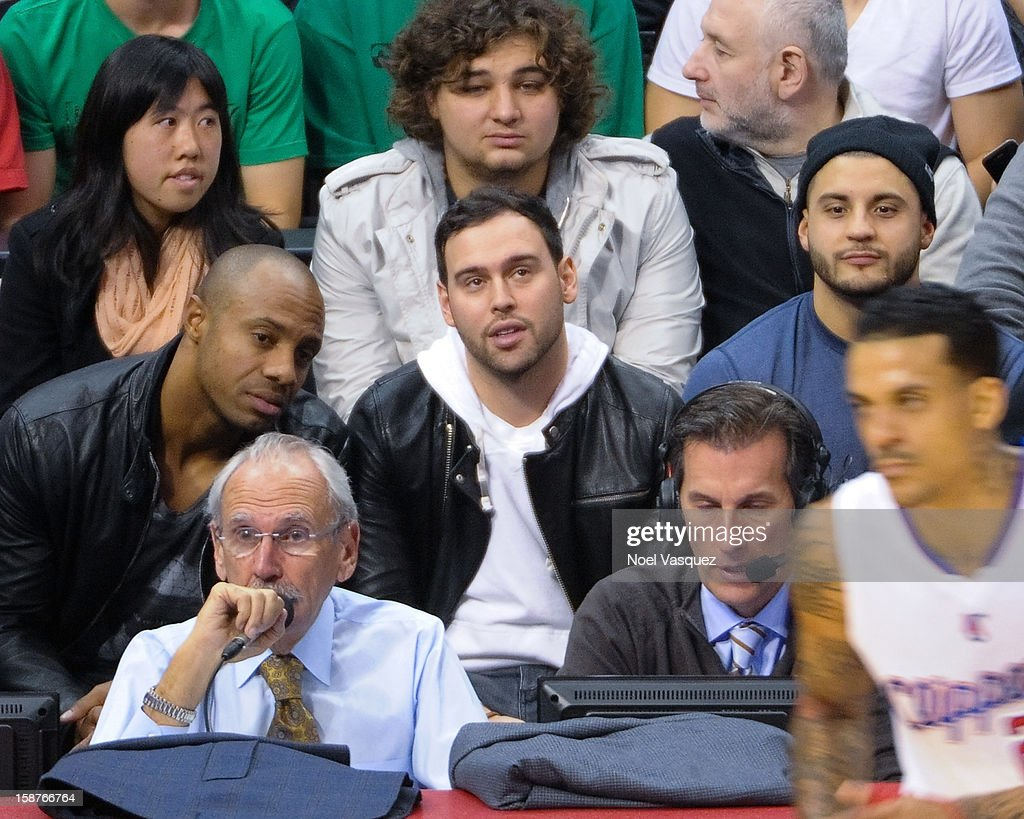 <a gi-track='captionPersonalityLinkClicked' href=/galleries/search?phrase=Scooter+Braun&family=editorial&specificpeople=4394003 ng-click='$event.stopPropagation()'>Scooter Braun</a> attends a basketball game between the Boston Celtics and the Los Angeles Clippers at Staples Center on December 27, 2012 in Los Angeles, California.