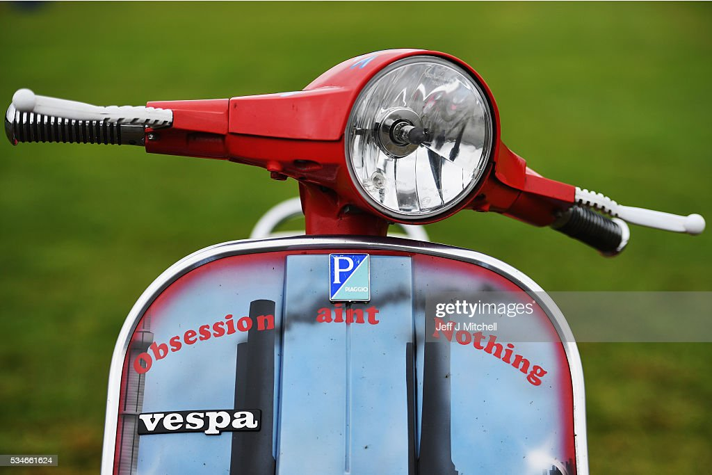 Scooter enthusiasts arrive at Kelso showground for the Scottish National Scooter Rally on May 27, 2016 in Kelso, Scotland. Hundreds of scooter diehards of all ages will attend the two day event with their Vespas and Lambrettas with many of the styles influenced from the 1979 film Quadrophenia.
