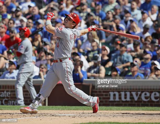 Scooter Gennett of the Cincinnati Reds bats against the Chicago Cubs at Wrigley Field on May 18 2017 in Chicago Illinois The Cubs defeated the Reds 95