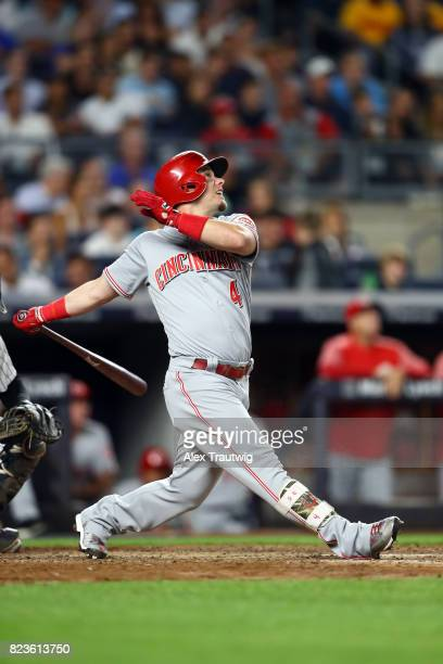 Scooter Gennett of the Cincinnati Reds bats during the game against the New York Yankees at Yankee Stadium on Tuesday July 2017 in the Bronx borough...