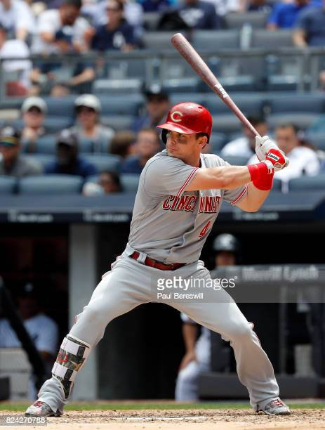 Scooter Gennett of the Cincinnati Reds bats in an interleague MLB baseball game against the New York Yankees on July 26 2017 at Yankee Stadium in the...