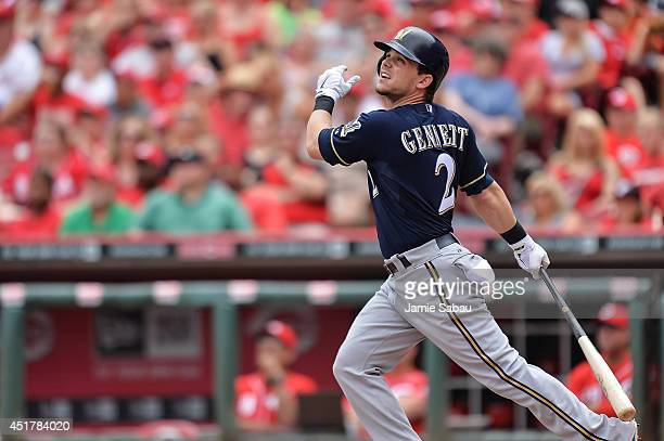 Scooter Gennett of the Milwaukee Brewers bats against the Cincinnati Reds at Great American Ball Park on July 6 2014 in Cincinnati Ohio